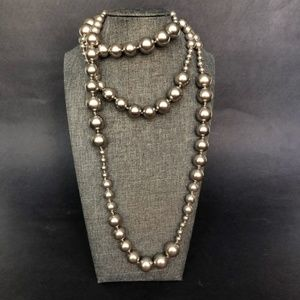 "Jewelry - 27"" Silver Bead Necklace Super Long Heavy Jewelry"